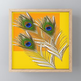3 GREEN PEACOCK FEATHERS YELLOW ABSTRACT ART Framed Mini Art Print