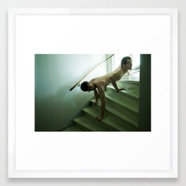 Animal in stairs Framed Art Print