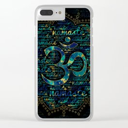 Namaste Word Art in Lotus with OM symbol Clear iPhone Case