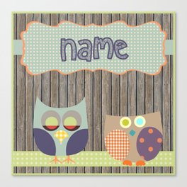 Woden Art Print Owls Customize your Name infant baby children toddler room interior design Canvas Print