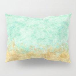 Pretty Mint Gold Glam Watercolor Pillow Sham