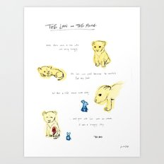 the lion  and the mouse. Art Print
