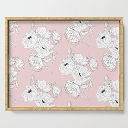 Peonies on pink Serving Tray