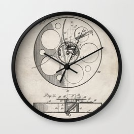 Film Reel Patent - Classic Cinema Art - Antique Wall Clock