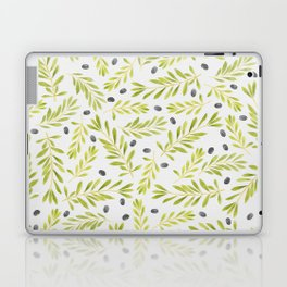 Watercolor Olive Branches Pattern Laptop & iPad Skin