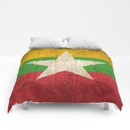 Old and Worn Distressed Vintage Flag of Myanmar Comforters