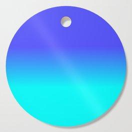 Neon Blue and Bright Neon Aqua Ombré Shade Color Fade Cutting Board