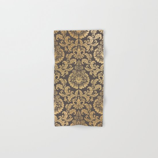 Gold swirls damask #8 Hand & Bath Towel