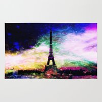 eiffel tower Area & Throw Rugs featuring eiffel tower by haroulita