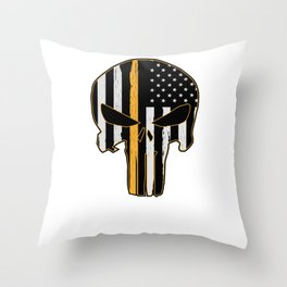 Dispatcher Security Guard Skull Thin Yellow Line Throw Pillow