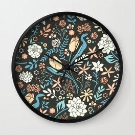 Tulip flowerbed, blue Wall Clock