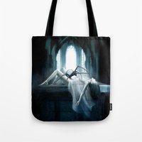 demon Tote Bags featuring Demon by Joe Roberts