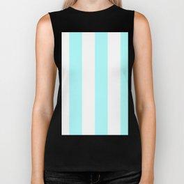 Wide Vertical Stripes - White and Celeste Cyan Biker Tank
