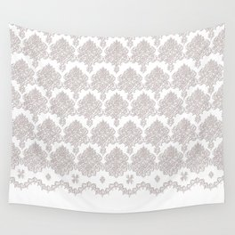 Off-White Damask Chenille with Lace Edge Wall Tapestry
