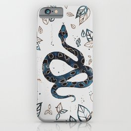 'Sea Serpent' snake and tropical illustration by Kristen Baker iPhone Case