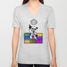 Groovy Disco Panda Unisex V-Neck
