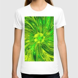 Abstract Lines Green Flower T-shirt