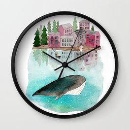 A whale is passing by Wall Clock