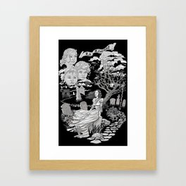 Hispanic Legend La Llorona (black and white) Framed Art Print