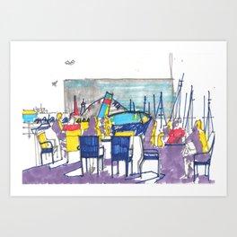 Sunset at the harbor Art Print