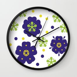 Colorful Japanese geometric flowers Wall Clock