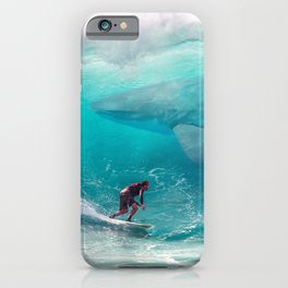 Surfing with a Giant Shark iPhone Case