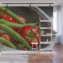 Snap Peas and Tomatoes in Colander Wall Mural