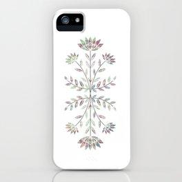 Folkart Leaves and Flowers Design / Batik Tie Dye / green, purple iPhone Case