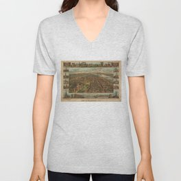 Vintage Pictorial Map of Harrisburg PA (1855) Unisex V-Neck