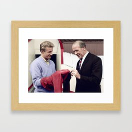 Matt Busby with Denis Law in colour Framed Art Print