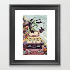Suitcases Binoculars and Color Framed Art Print
