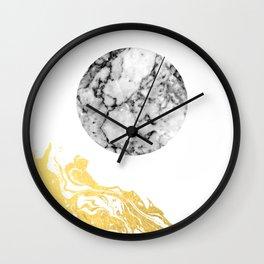 Bekke - abstract minimal white and gold modern art print canvas wall art for trendy urban minimalist Wall Clock