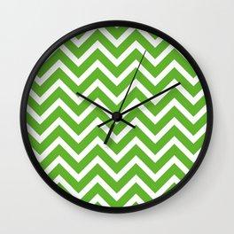 green, white zig zag pattern design Wall Clock