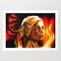 mother of dragons Art Prints featuring The Mother of Dragons by Brigitta