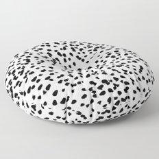 Nadia - Black and White, Animal Print, Dalmatian Spot, Spots, Dots, BW Floor Pillow