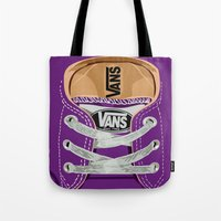vans Tote Bags featuring Cute Purple Vans all star baby shoes apple iPhone 4 4s 5 5s 5c, ipod, ipad, pillow case and tshirt by Three Second