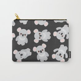Funny cute koala on black background Carry-All Pouch