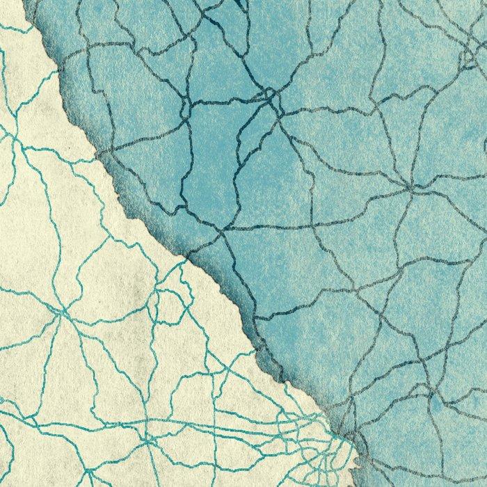 South Carolina State Map Blue Vintage Leggings