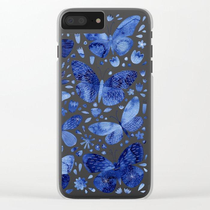 Blue Butterflies Clear iPhone Case