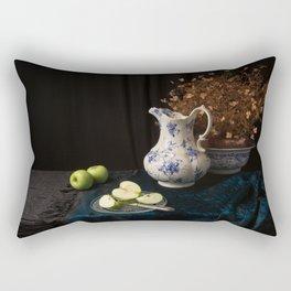 Green apples and china still life Rectangular Pillow