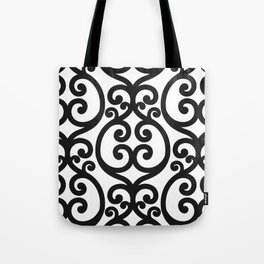Black and White oversized filigri pattern Tote Bag