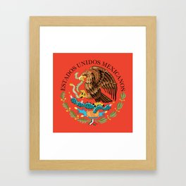 Close up of the Seal from the flag of Mexico on Adobe red background Framed Art Print