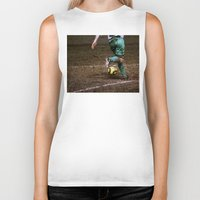 football Biker Tanks featuring Football by Goncalo