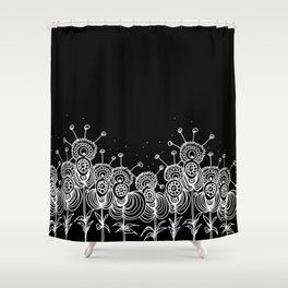 Black Field of Worm Flowers Shower Curtain
