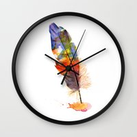 feather Wall Clocks featuring feather by emegi