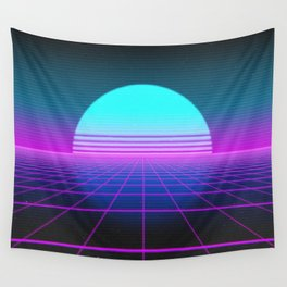 80's Retro Neon Grid Wall Tapestry