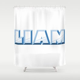 """LIAM"" first name blue pattern Shower Curtain"