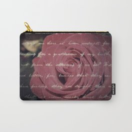 Antique Red Rose with Text Carry-All Pouch