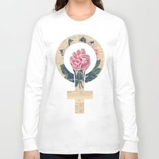 Respect, equality, women's liberation. Feminism Power Fist / Raised Fist Long Sleeve T-shirt