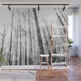 Black and white tree photography - Watercolor series #3 Wall Mural